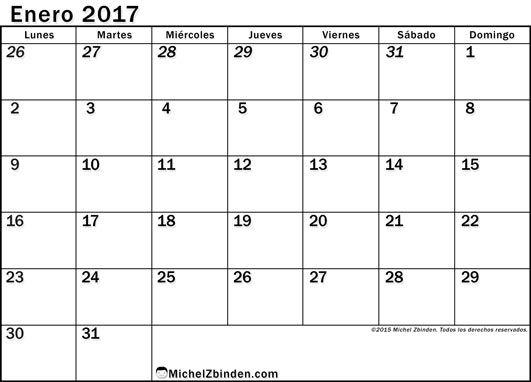 Calendario enero 2017 libre de imprimir econ mico lunes - Mes de enero 2017 ...