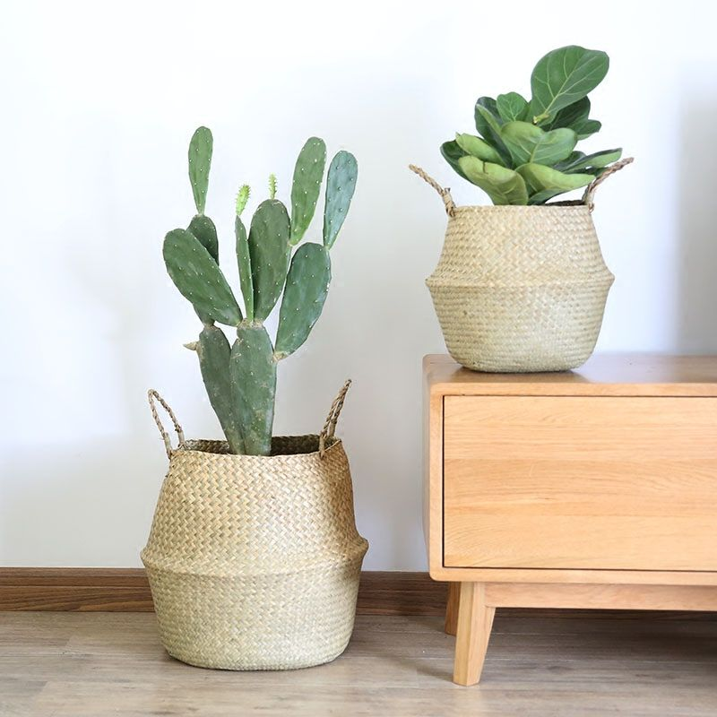 Handmade Storage Basket Foldable Seagrass Straw Hanging Woven Garden Plant Pot