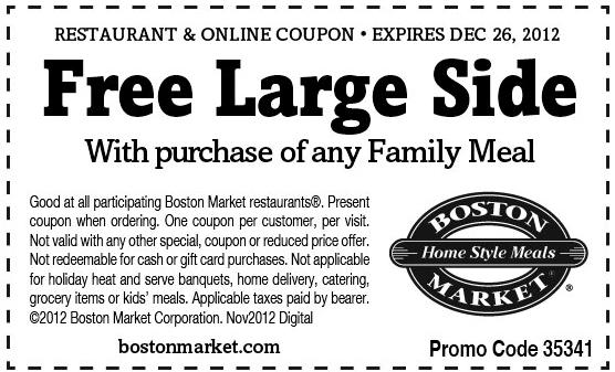 Boston Market Free Large Side Printable Coupon Free
