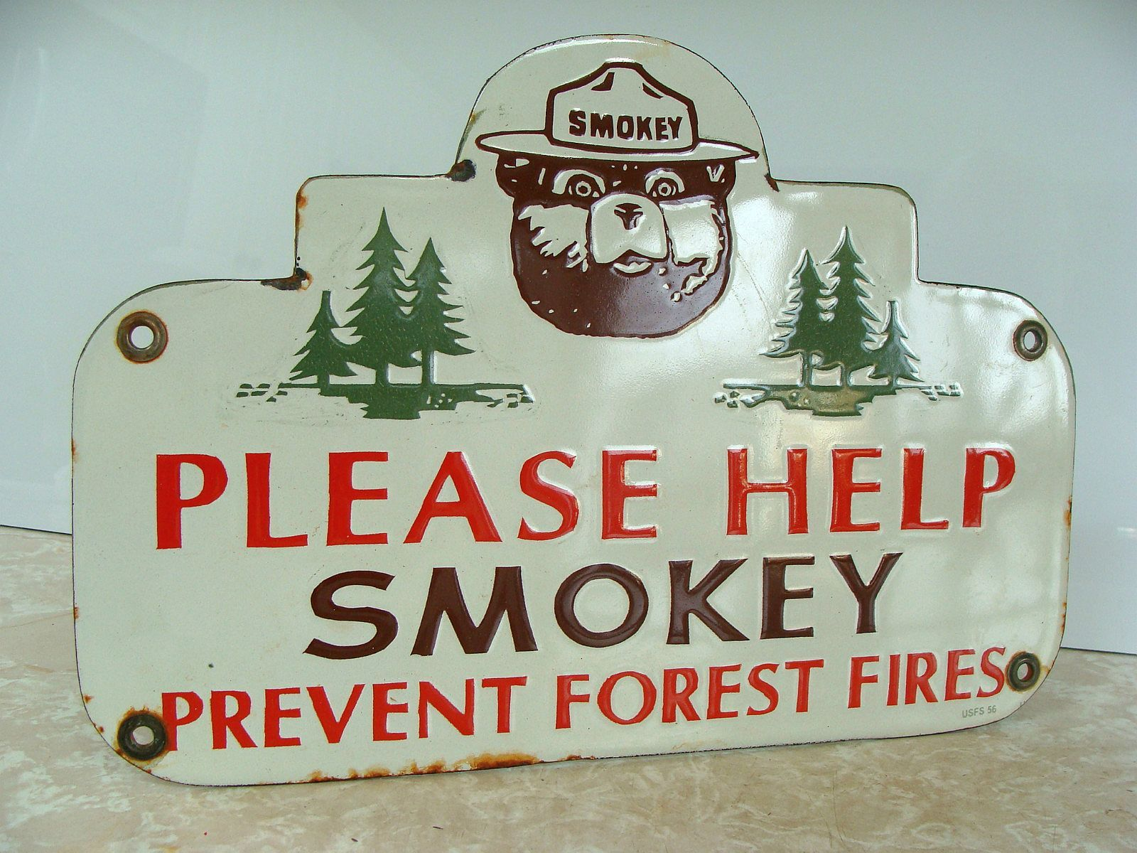 Smokey the Bear Porcelain Sign (Antique 1956