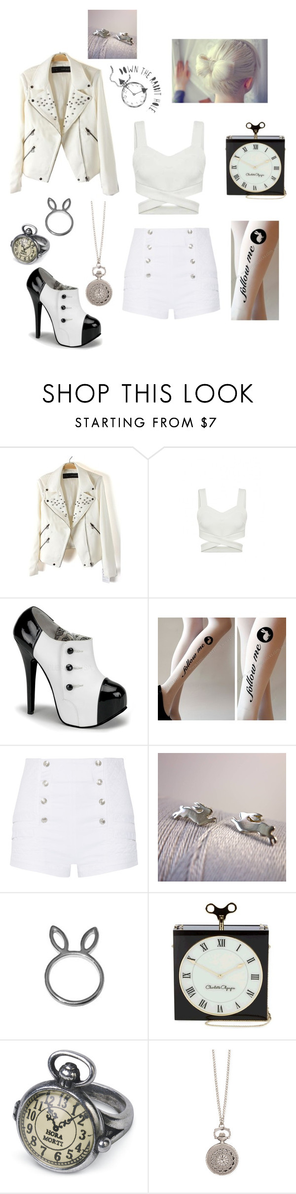 """The White Rabbit"" by hannahc1133 ❤ liked on Polyvore featuring Pierre Balmain, Charlotte Olympia and Zad"