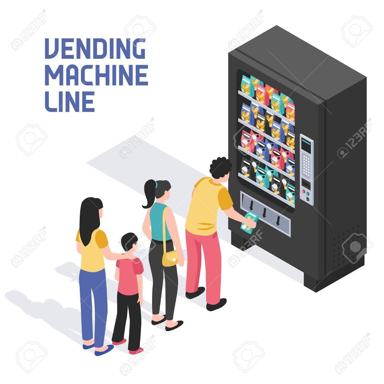 lining up in front of vending machine selling snacks beverages refreshing summer drinks isometric vector illustration People lining up in front of vending machine selling...