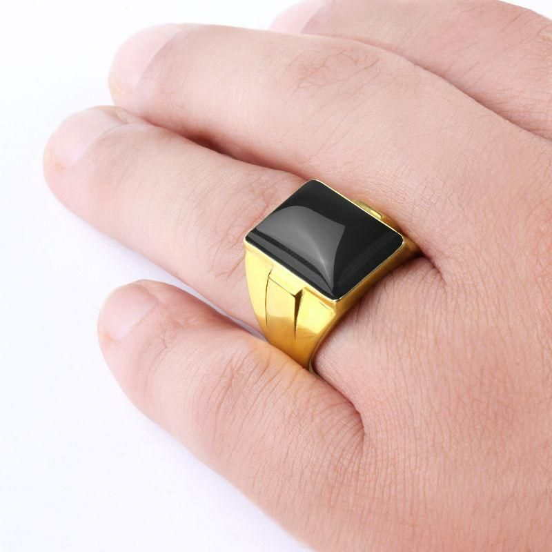 Men S Ring 10k Yellow Gold Statement Ring With Black Onyx Stone Yellow Gold Statement Ring Yellow Gold Mens Rings Stone Rings Natural