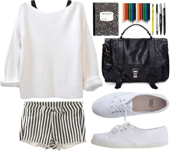 Request: Outfit for school by thestyleduet featuring real leather handbags