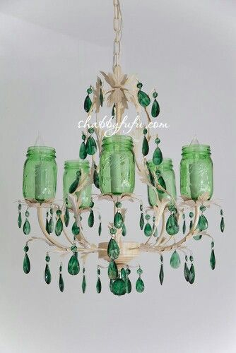 shabbyfufu Obsessing Green and a New Chandelier In The Shop #MasonJars #MasonJarChandelier http://s.bhome.us/Rb4LZmVb via bHome https://bhome.us