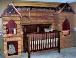 Rustic log cabin hunting and fishing theme nursery dcor for a