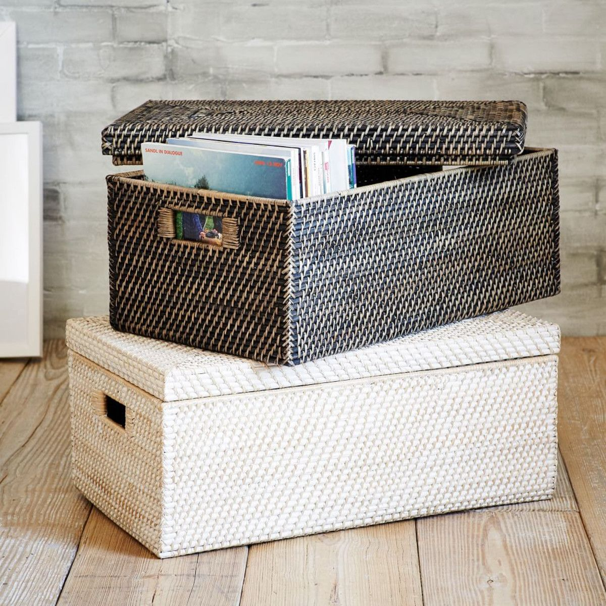 Home underbed storage baskets wicker underbed storage basket - To Put At Entry On Bottom Shelf Although May Just Turn Into A Black Hole Of Lost Forgotten Mail Modern Weave Storage Small Lidded Basket