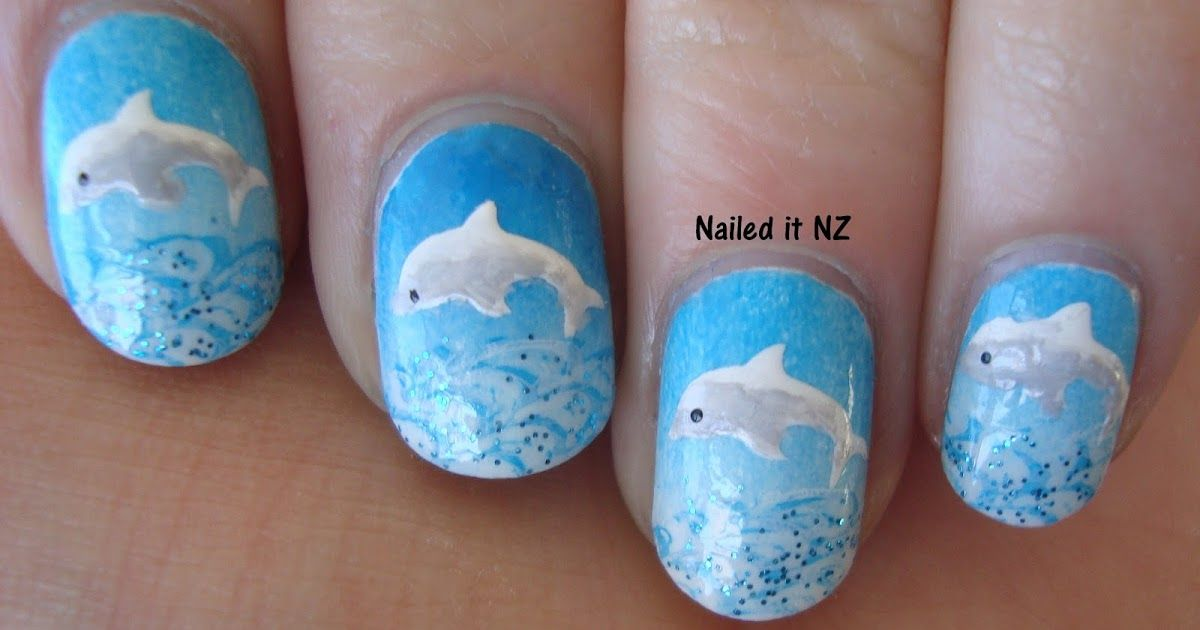 Dolphin nails with tutorial dolphin nails nails