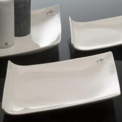 4er Set Porzellanplatten, Kerzenteller Trapez 30x22cm weiß Porzellan Sandra Rich Sandra Rich