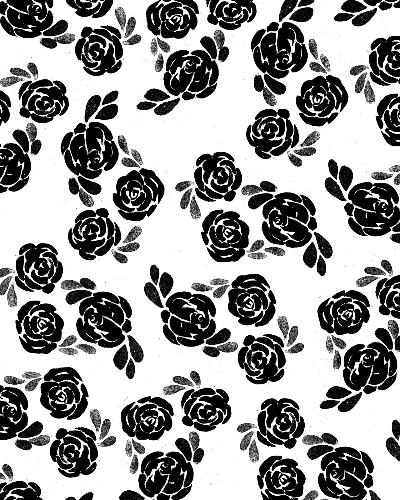 Printable Wallpaper: Papier Fabrik: Black And White Roses