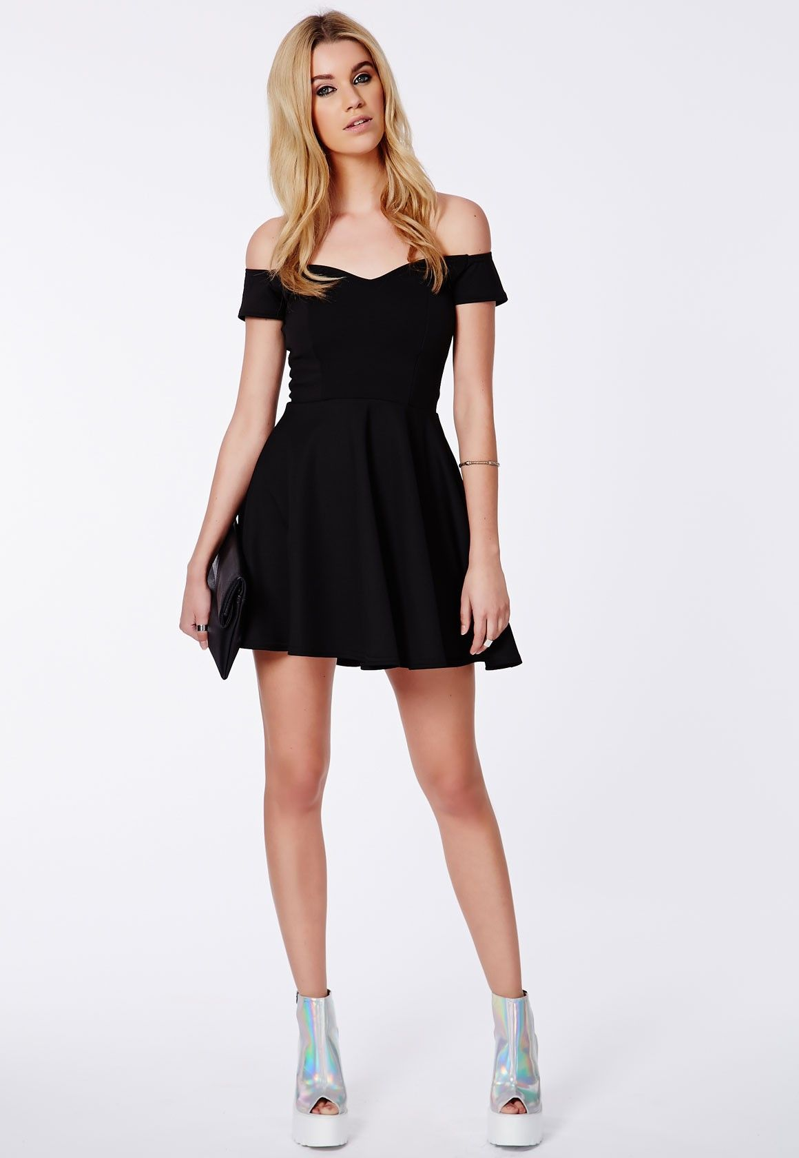 Lace puffball skater dress missguided shoes