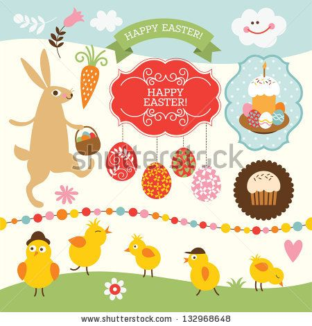 Easter collection, design elements - stock vector