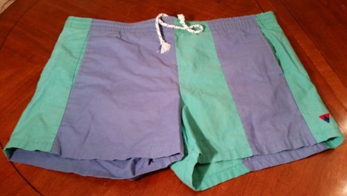Vintage-Jantzen-Size-34-Mens-Swim-Trunks-Multi-colored-Striped-Short-Shorts-HTF