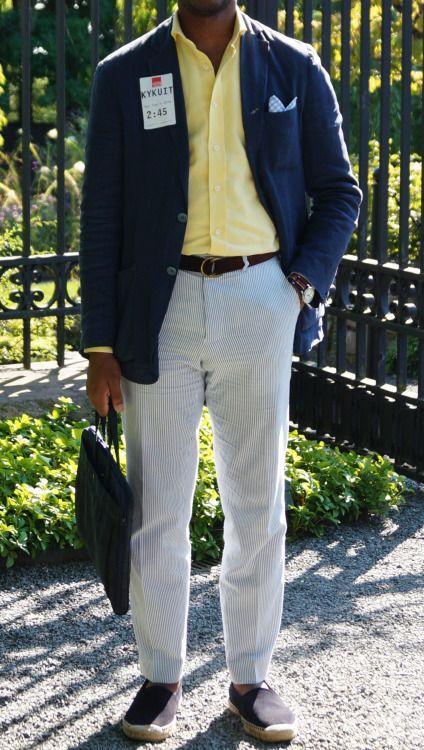 Navy Blazer Yellow Shirt Seersucker Pants Mens Fashion Suits