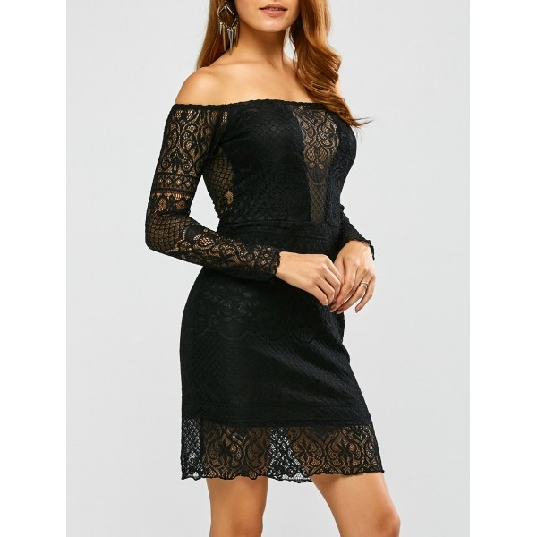15.55$  Buy now - http://dil78.justgood.pw/go.php?t=201042503 - Off Shoulder Long Sleeve Lace Dress