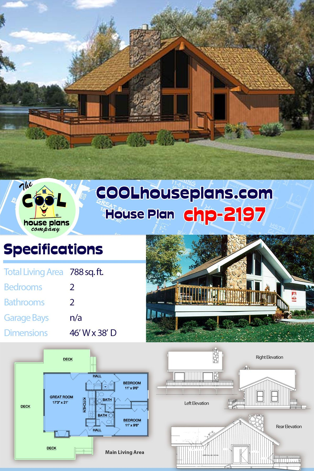 Cabin Style House Plan 94307 With 2 Bed 2 Bath Vacation House Plans House Plans Best House Plans