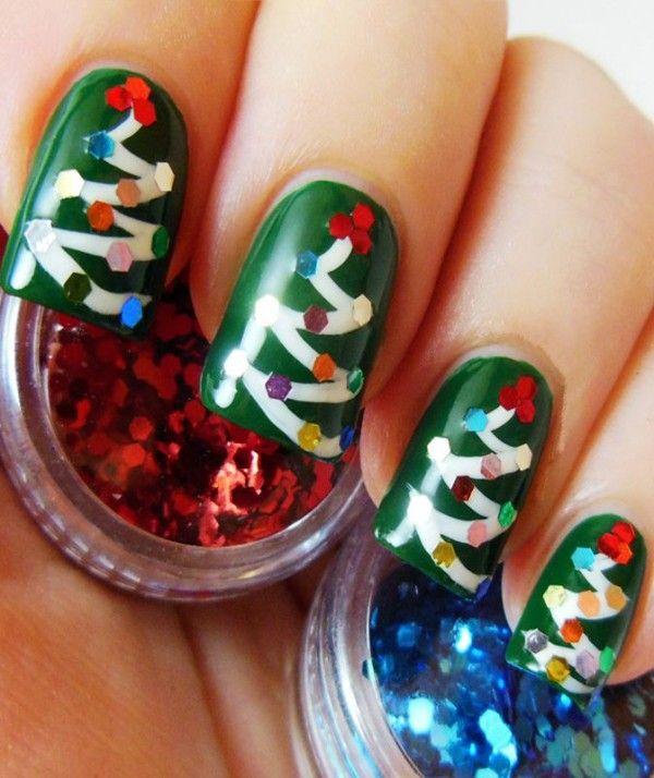 2013 Christmas Tree Nails Design Tutorial Christmas Tree Nails Design For 2013 Christmas Christ Christmas Nails Diy Christmas Nails Easy Christmas Tree Nails
