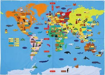 Giant world felt map with bag 170x240cm mta catalogue nursery a range of maps from world puzzles magnetic wall maps to geographical and political world maps helping children with geographical facts gumiabroncs Gallery