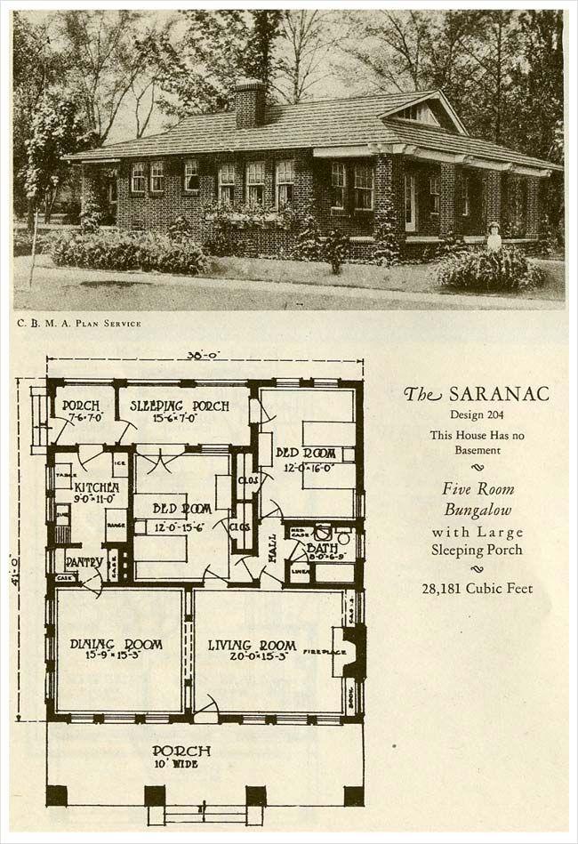 1 558 S F 1927 Brick Houses The Saranac Love The Pantry Vintage House Plans Brick House Small House Plans