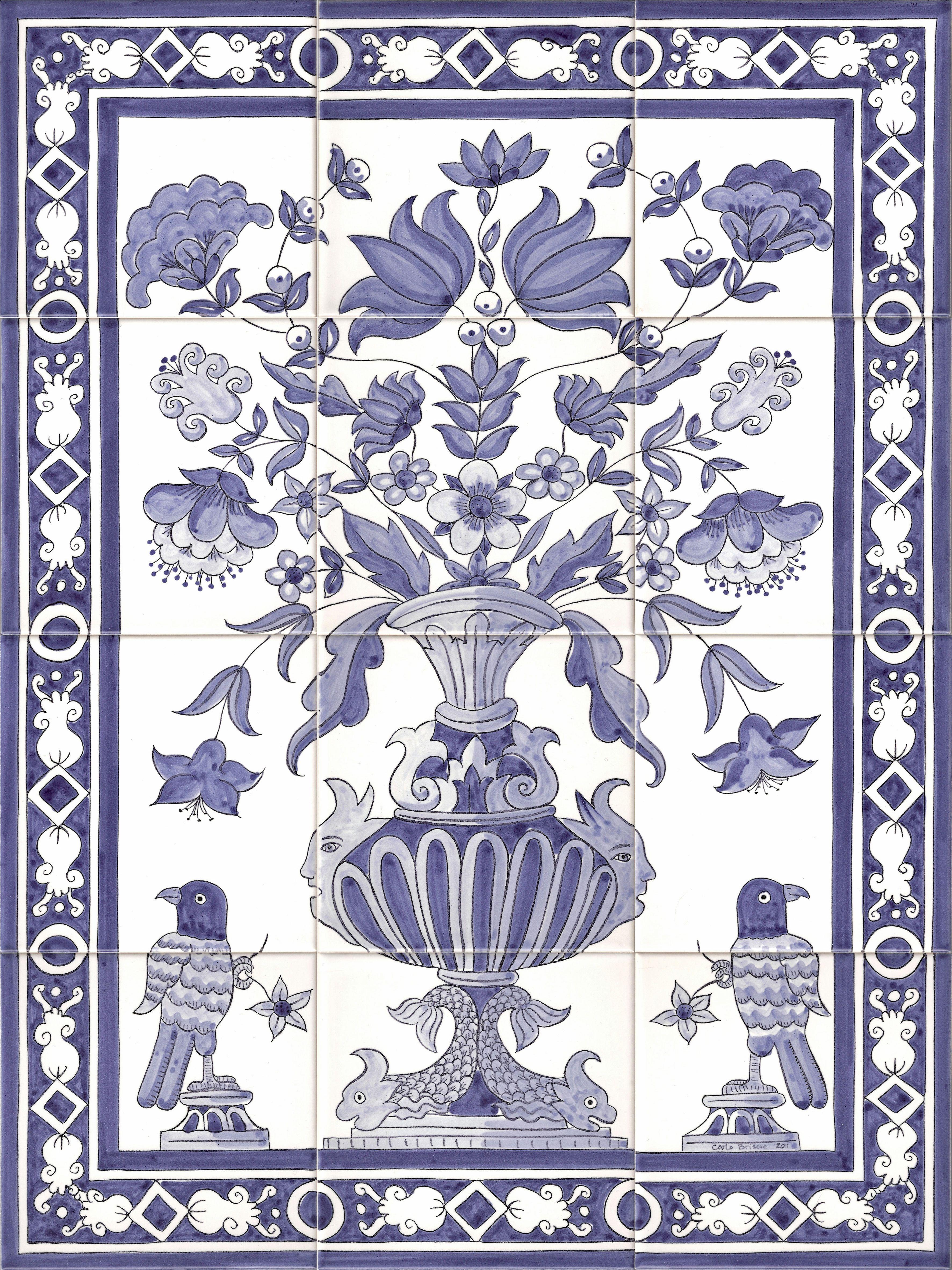 New vase 3544 4725 tiles murals pinterest for Delft tile mural