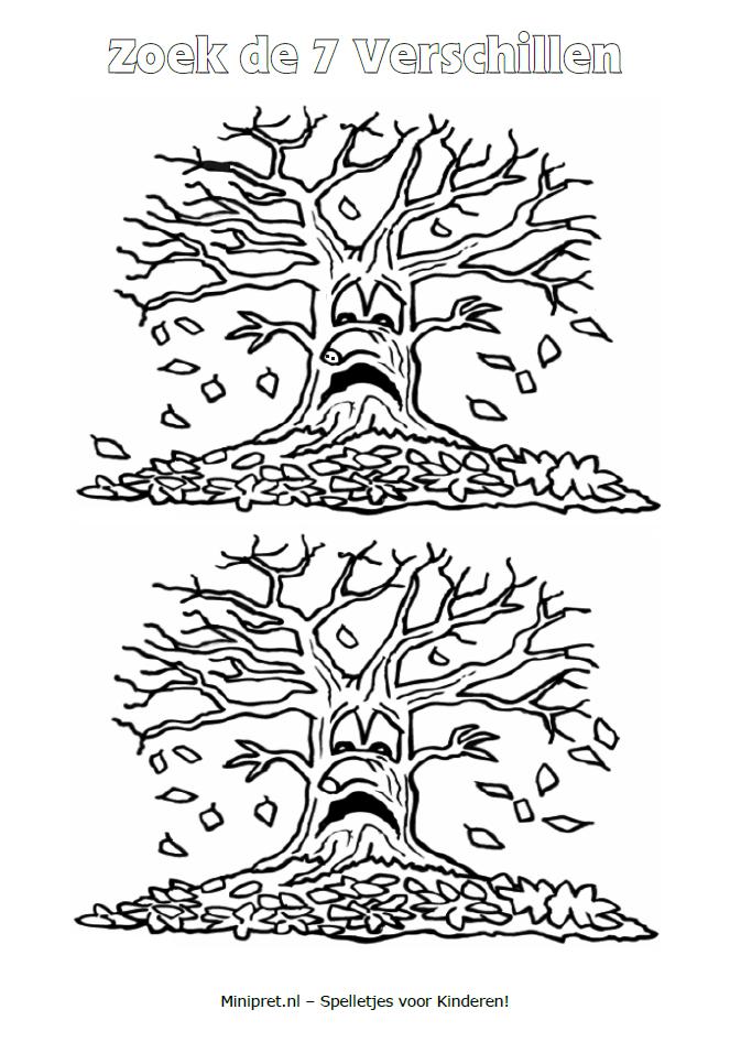 zoek de 7 verschillen minipret nl herfst kleurplaten