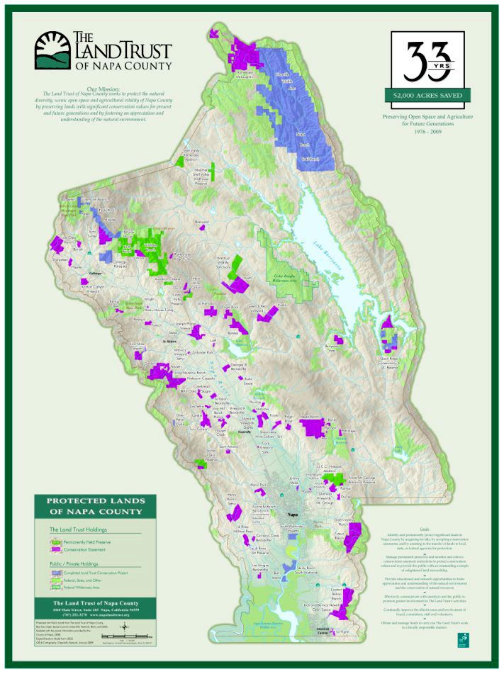 Map Of Napa Valley Protected Land Map Geography Napa Valley
