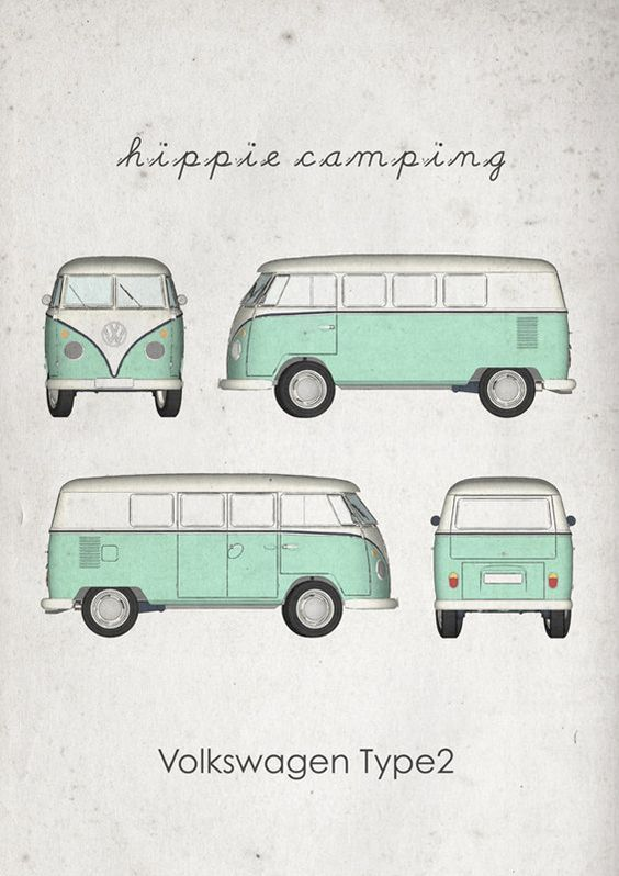 Hippie Camping. Volkswagen Type2. Wall Art. Car Graphic. by jbFARM: #volkswagentype2 #volkswagen