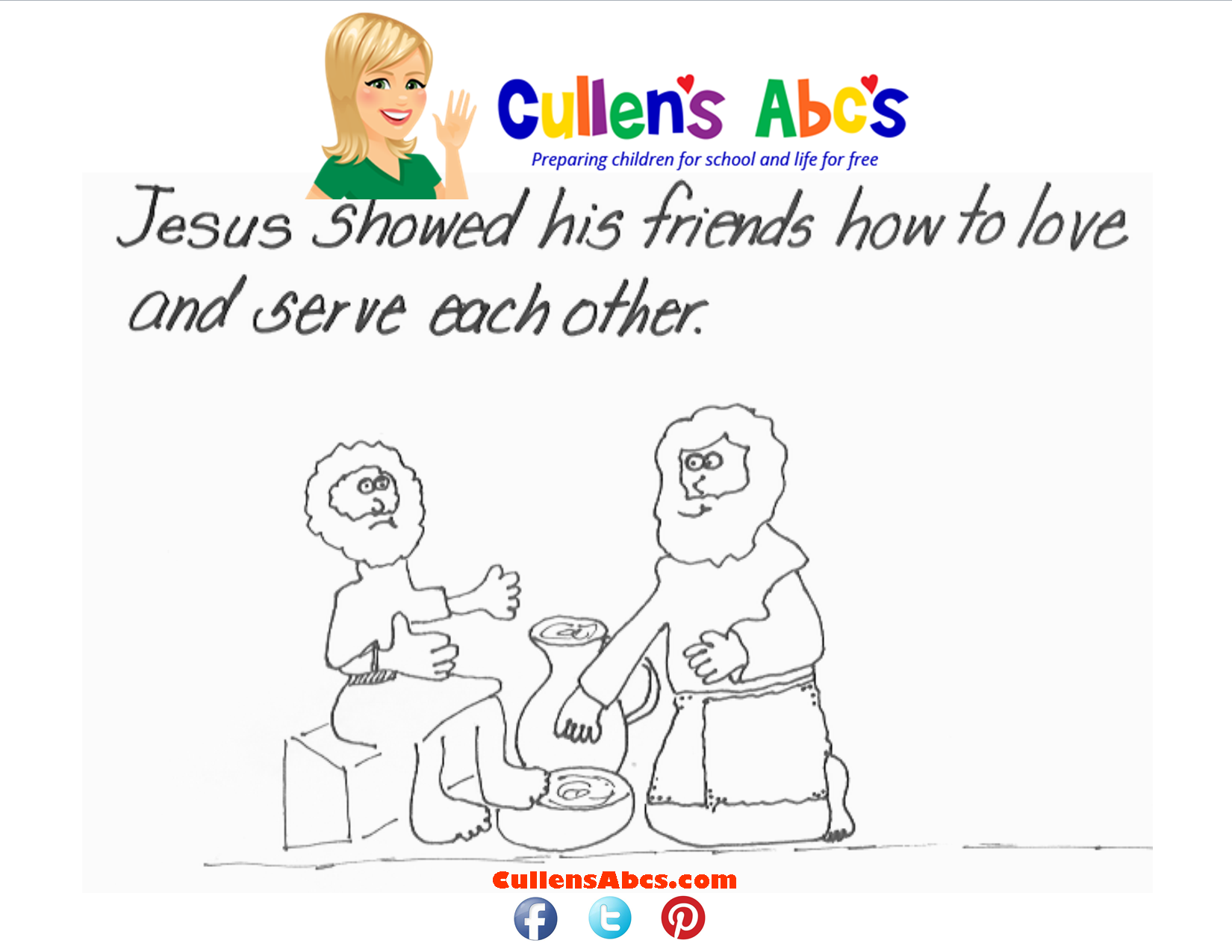 Bible key point coloring page jesus washes disciples feet john 133 30 use this bible memory verse coloring page to help preschool children learn how