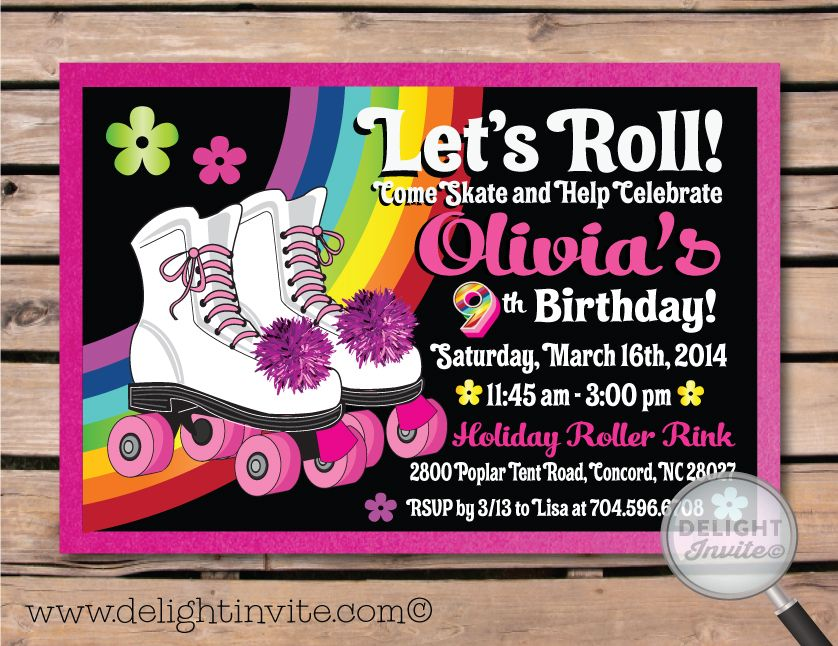 Roller-Skate Birthday Party Invitation Rollerskate Party Birthday ...
