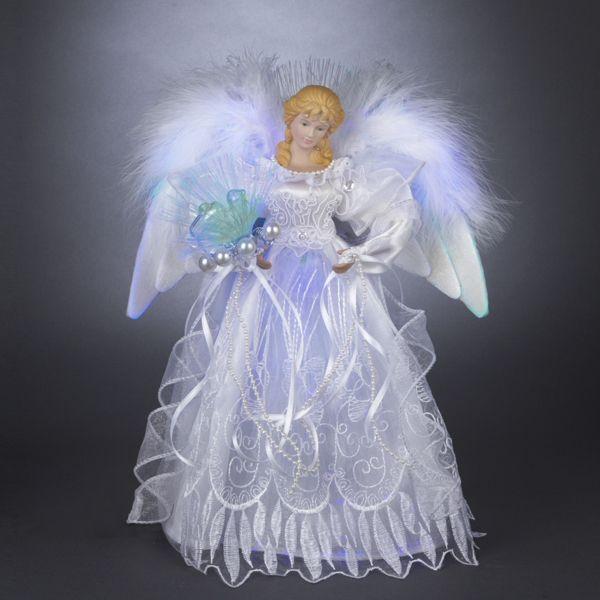 12 led lighted silver white fiber optic victorian angel christmas tree topper angel. Black Bedroom Furniture Sets. Home Design Ideas