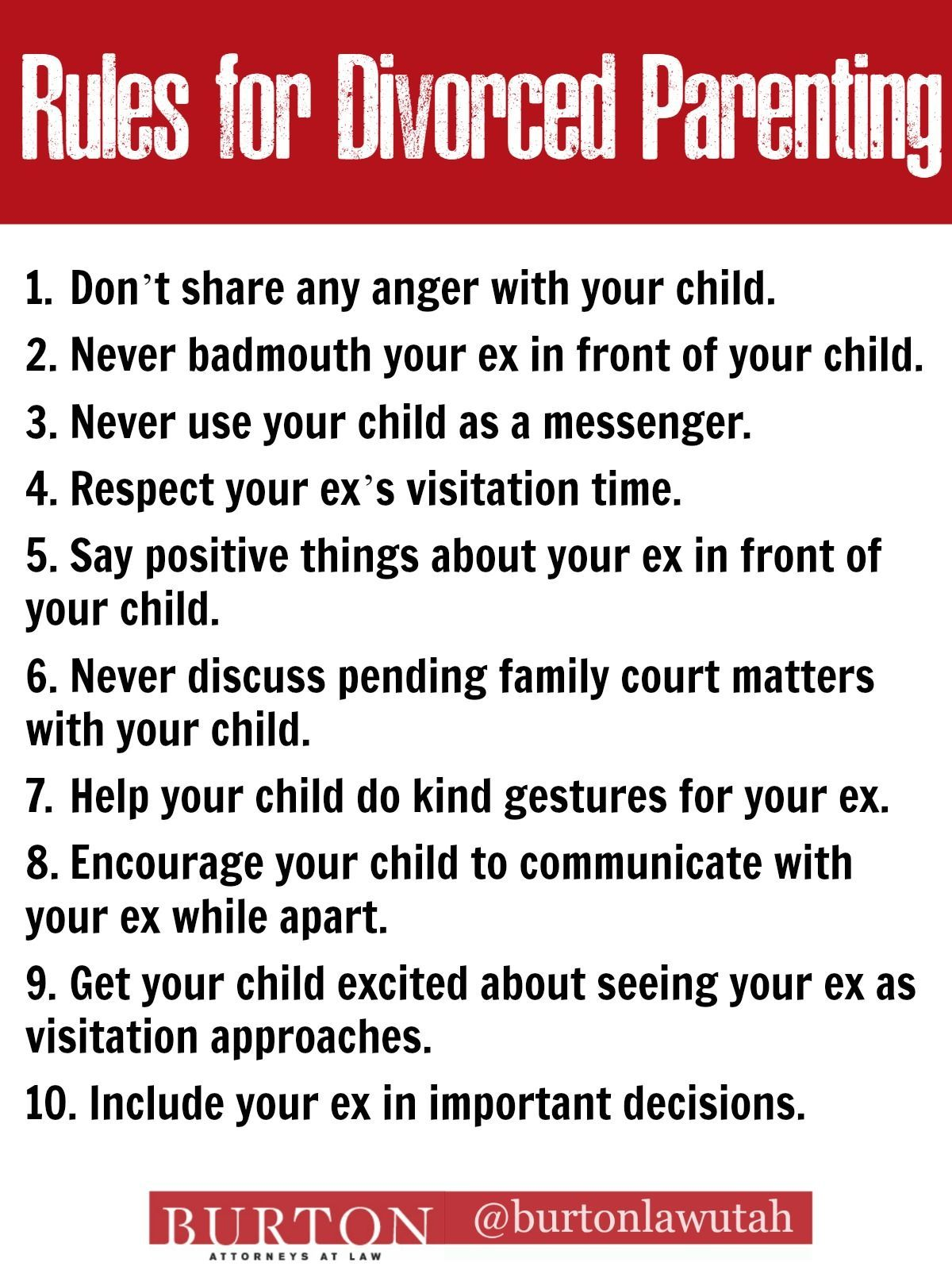 10 Rules For Divorced Parenting Divorce And Custody