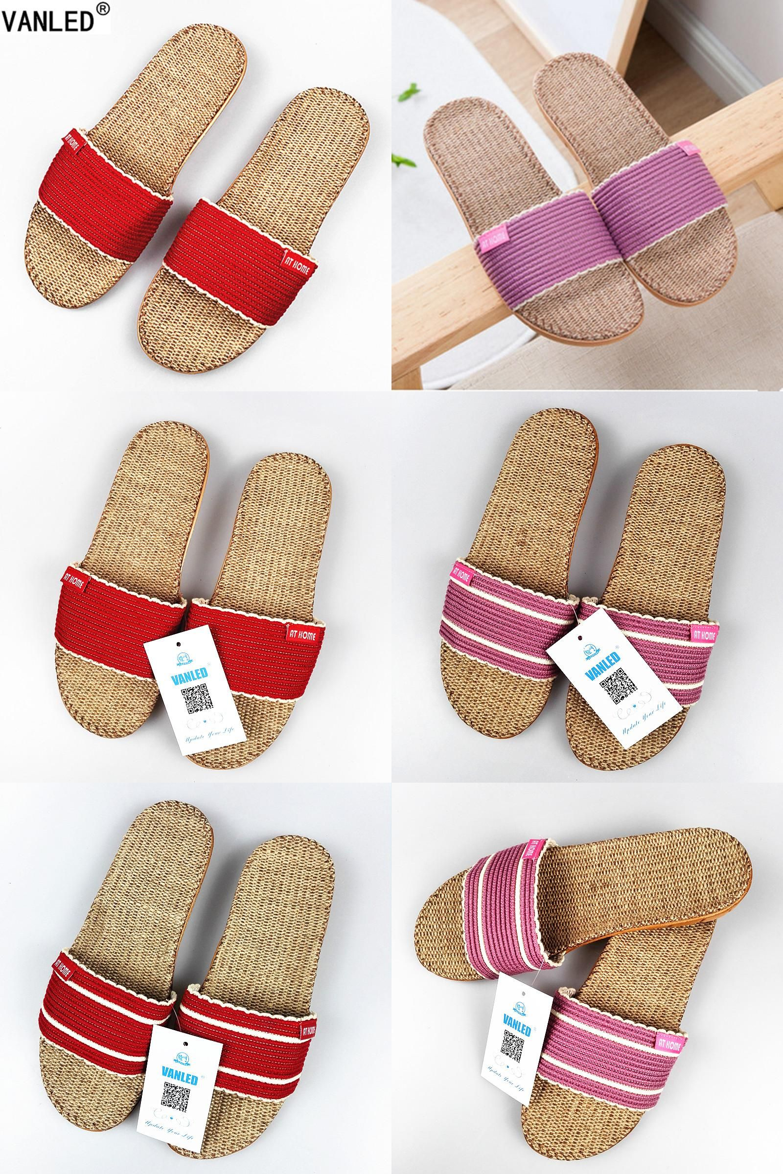 bd41692a5c17  Visit to Buy  VANLED 2017 New Fashion Summer Autumn Home Linen Slippers  Women Indoor  Floor Breathable Beach Slides Flat Shoes Girls Gift   Advertisement