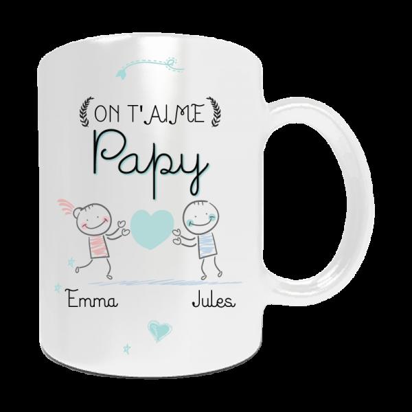 """Mug personnalisé """"On t'aime papy..."""". A personnaliser avec les prénoms ..."""