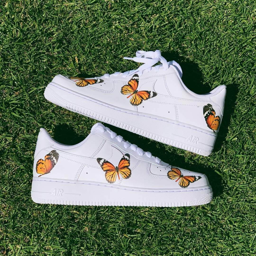 Monarch Orange Butterfly AF1 Custom nike shoes in 2020