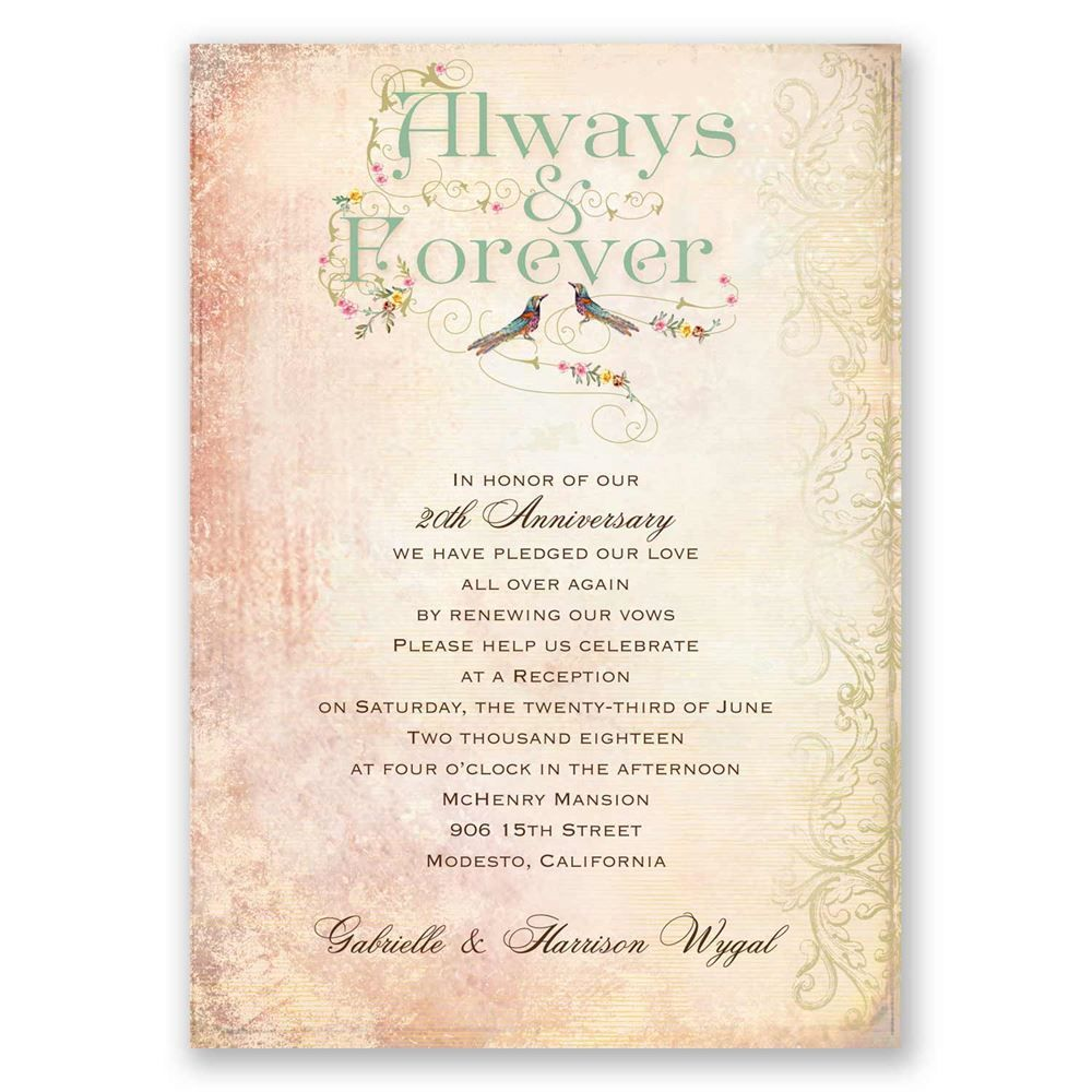 Terrific Forever Vow Renewal Invitation Vow Renewal Romantic Vow Renewal Invitations Frominvitations By This Vintage Always Celebrate Your Lasting Love