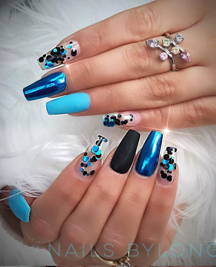 Lastest Shiny Blue Coffin Nails Design Short Nail Designs Square Nail Designs Blue Coffin Nails