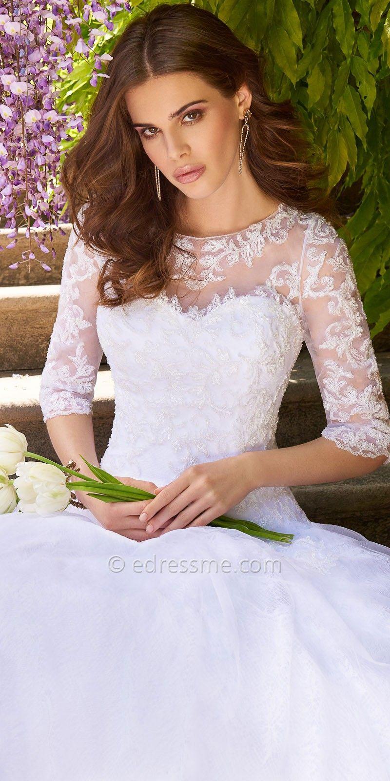 Lace applique illusion tulle wedding dresses by Camille La Vie ...