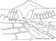 Mewarnai Gambar Pemandangan Gunung Dan Sawah Buku Gambar Sketsa