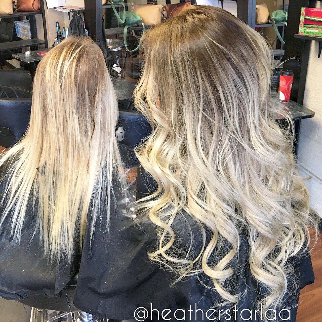 Rooted Platinum Blonde Balayage With Tape In Extensions Curled