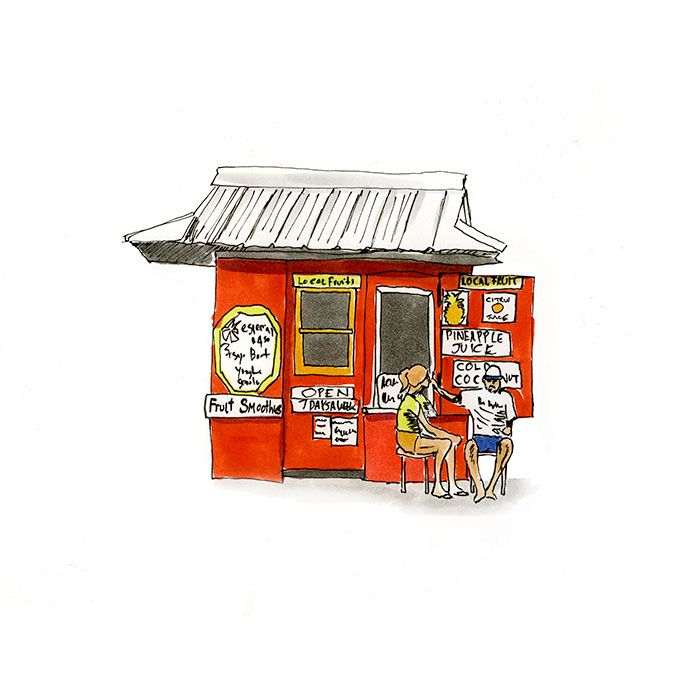 Good living A sketch of a fruit smoothie stand in Kauai Hawaii