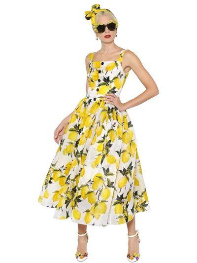 eac7dbeef4f3 DOLCE & GABBANA Lemons Print Silk Organza & Satin Dress, White/Yellow. # dolcegabbana #cloth #dresses