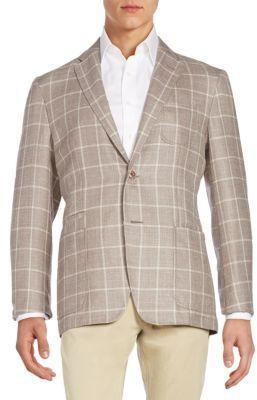 Regular-Fit Windowpane Virgin Wool & Silk-Blend Sportcoat