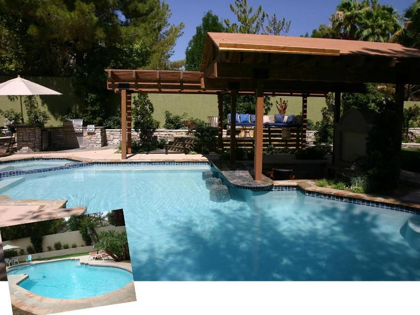Swim up bar residential area and firepit covered for Residential pools