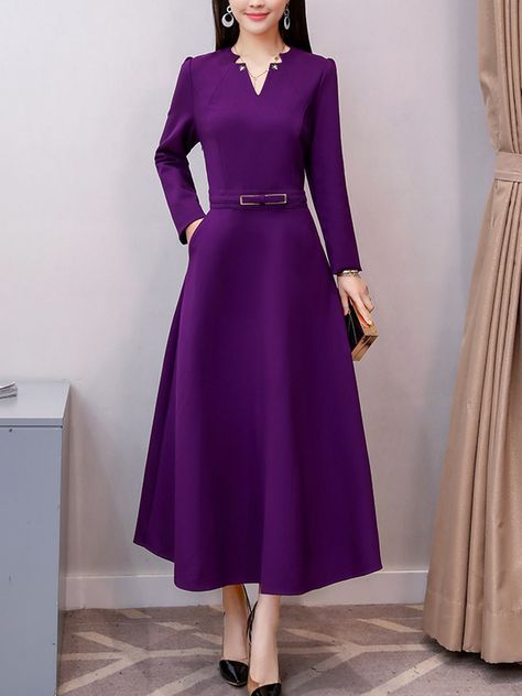 941d440b76e0 V-Neck Decorative Hardware Plain Polyester Maxi Dress in 2019 ...