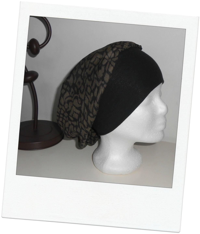 Turban - Bonnet - chapeau - bandeau chimio préformé noir et marron  légèrement doré enlacé de jersey noir   Chapeau, bonnet par msg-secret 97721d78d73