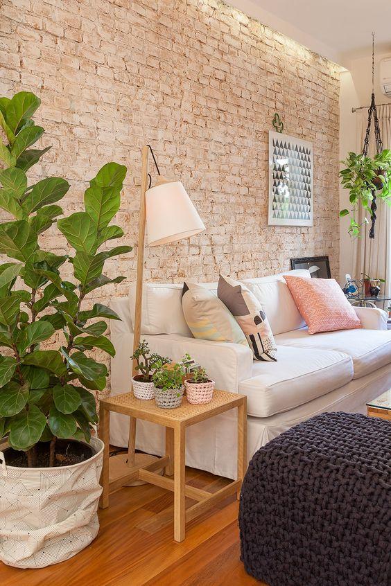 Uso de tijolinhos aparentes Deco Pinterest Sala de estar - Decoracion De Interiores Salas