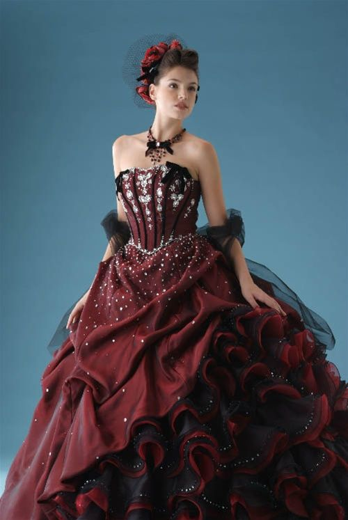 Burgundy wedding dress is made with layers of Organza and Taffeta. LOVE it!