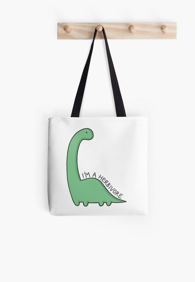 'I'm a Herbivore' Dinosaur Illustration All Over Print Tote Bag #dinosaurillustration