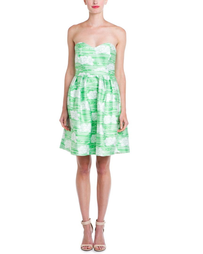 Rue La La — Elizabeth McKay Green Floral Strapless Silk-Blend Dress