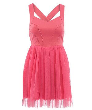 Pink (Pink) Dolly & Delicious Pink Cross Back Mesh Dress | 286769970 | New Look